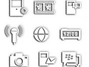 basic b&w blackberry icons