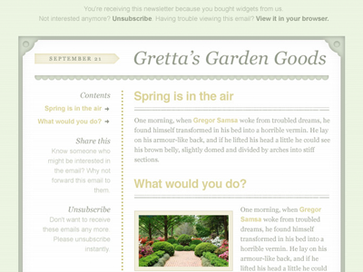 'Spring' Email Template PSD by Meagan Fisher