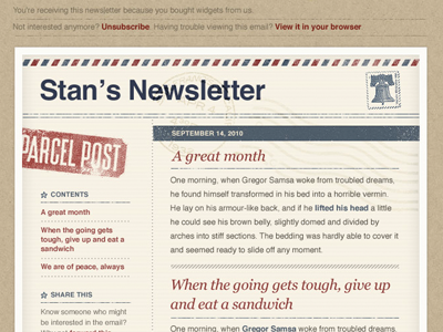 'AirMail' Email Template PSD by Meagan Fisher