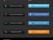 Social Media Buttons #1 - Dark Theme