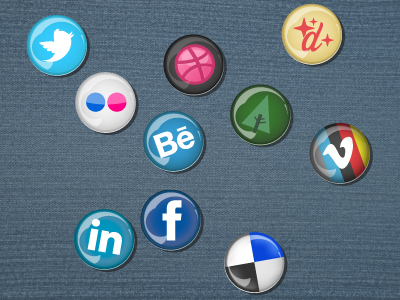 Pin button social icons