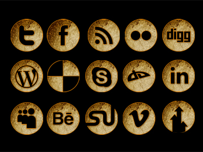 Gold Plated Glittering Social Media Icons