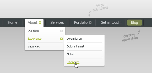 Drop-down navigation bar (Free PSD)
