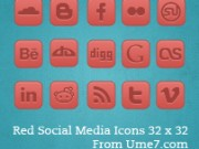 Red Social Media Icons