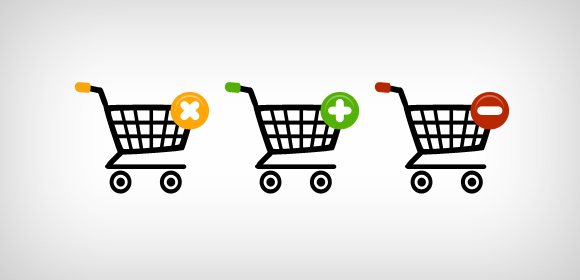 Three shopping web icons (Free PSD)