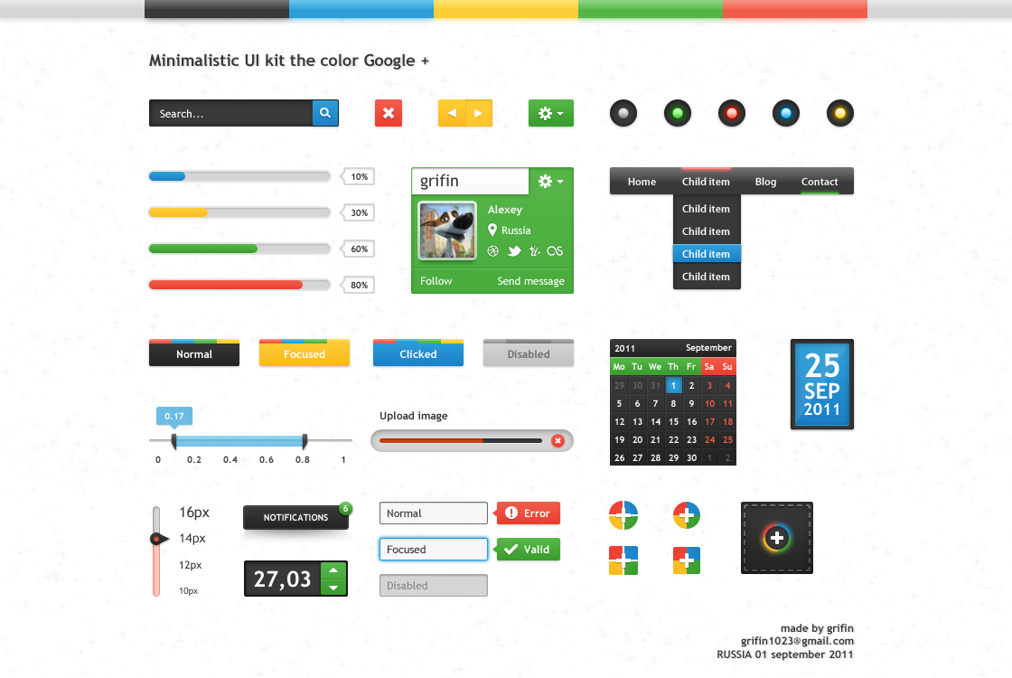 Minimalistic UI kit the color Google +