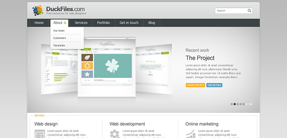 Corporate + porftfolio website template (Free PSD), free vectors ...