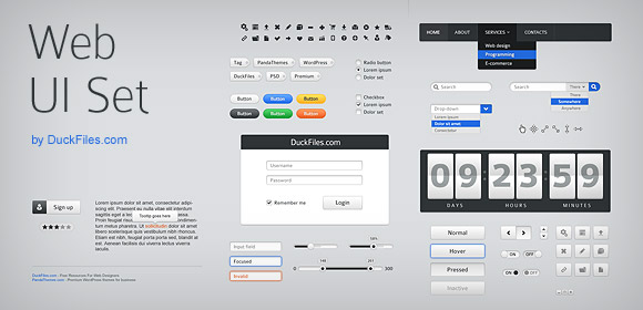 70+ user interface elements (Free PSD)