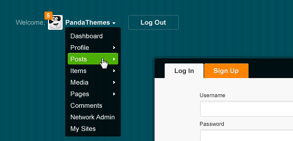 Menu for logged in users and Log in box